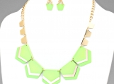 Neon Chevron Bib Statement Necklace - Green