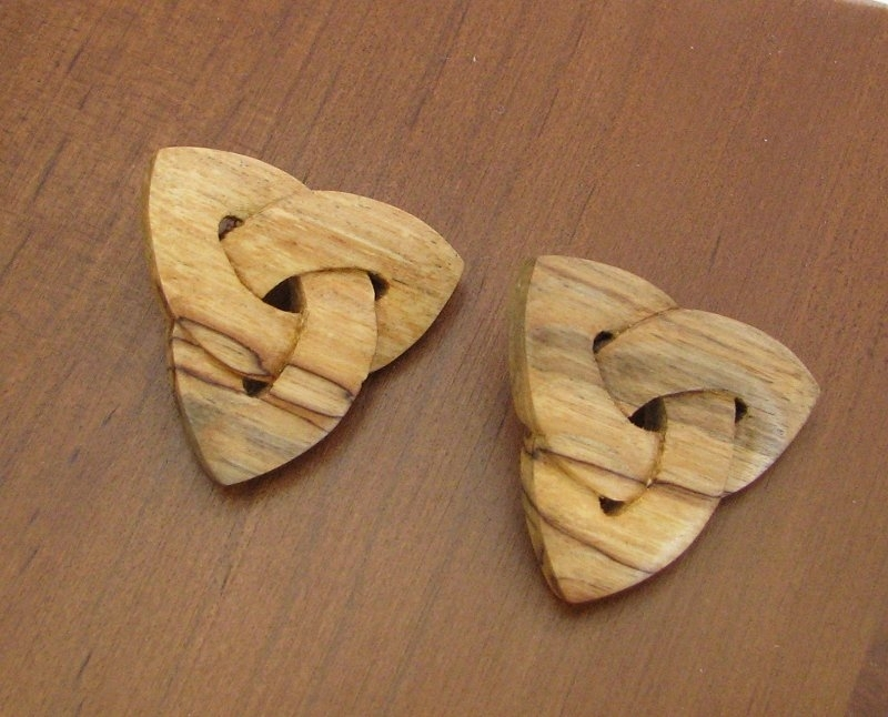 Celtic knot earrings hand carved in maple by woodwright