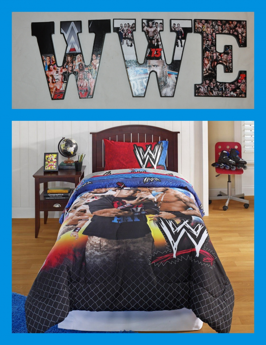 Wwe 9 wooden letters by mytrendyexpressions wall decor for Wwe bathroom decor