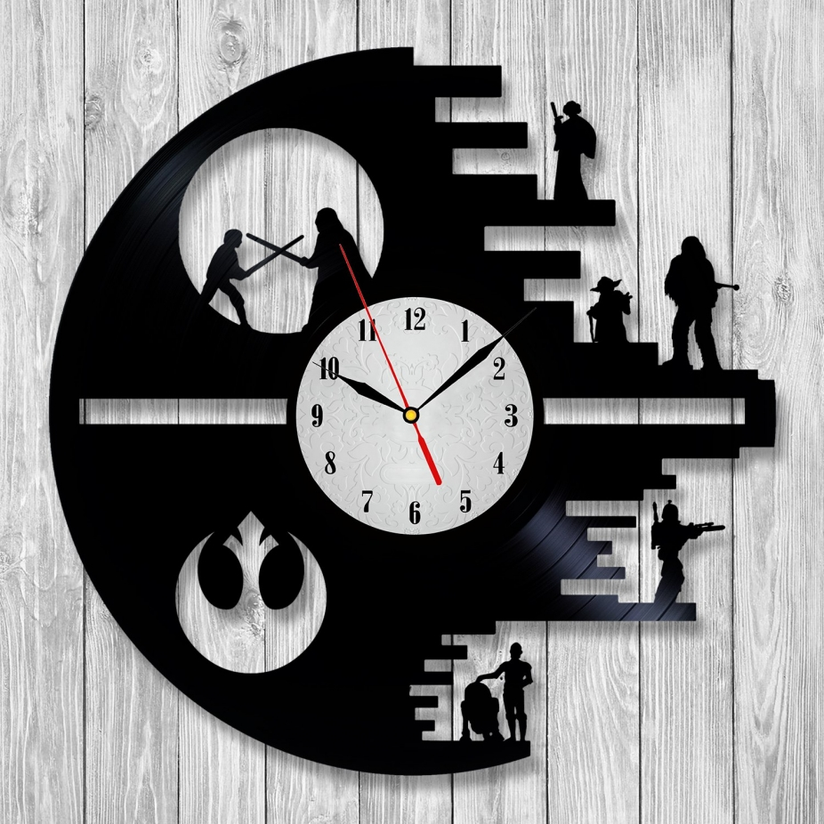 Star Wars Vinyl Record Wall Clock Art Darth Vader Yoda Han