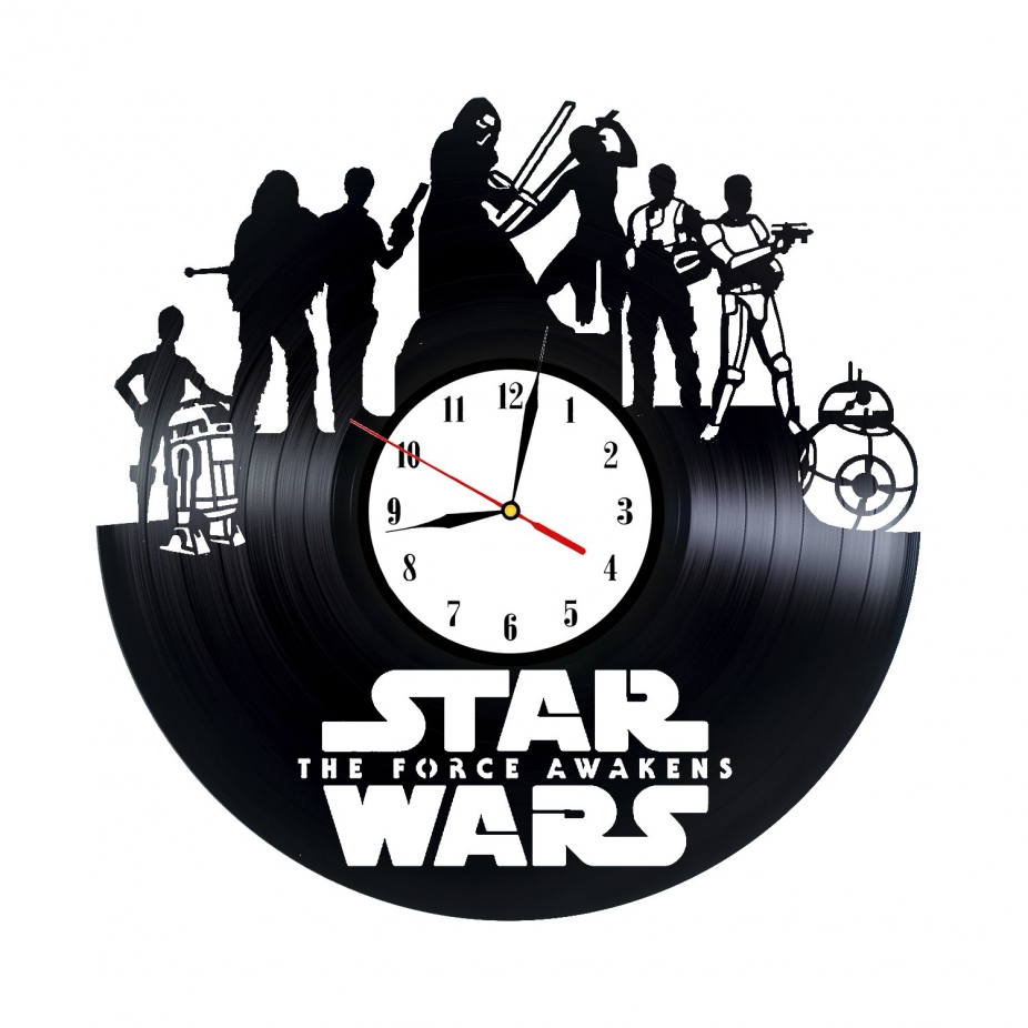 Star Wars Vinyl Record Wall Clock Darth Vader Luke Skywalker