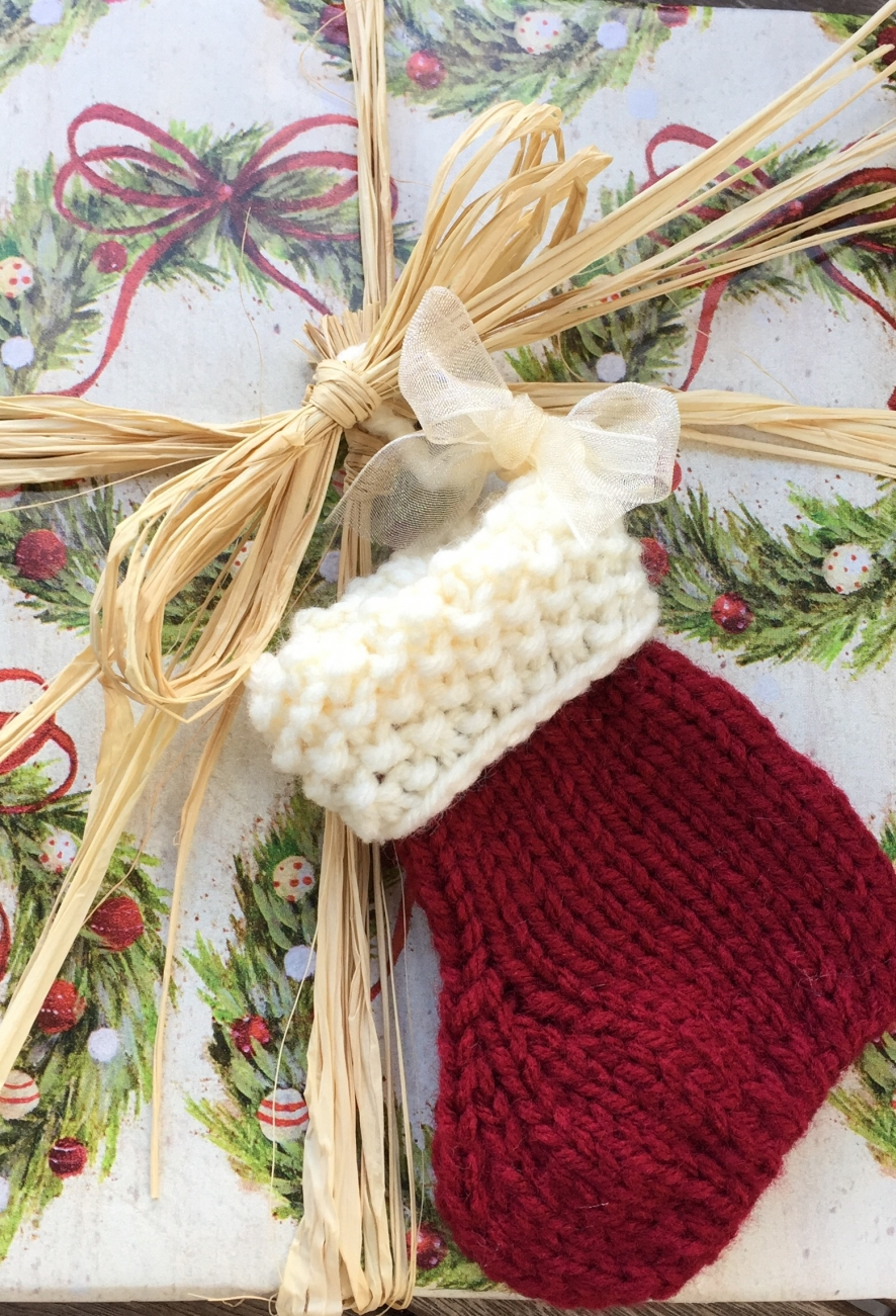 Knitted Christmas Decorations To Buy : Small christmas stocking knitted ornament