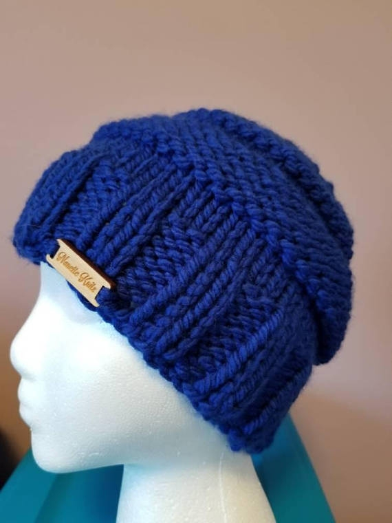 Messy Chunky Beach Waves Easy Tutorial: Chunky Messy Bun Hat In Royal Blue Acrylic By Nanette Knit