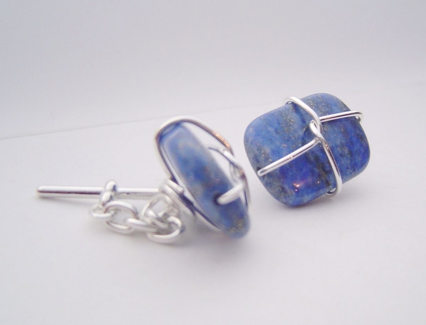 Stores That Accept Paypal Credit Online >> Sterling silver wired gemstone cufflinks by pomomamadesign