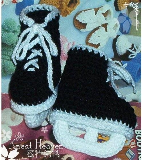 Hockey Knitting Patterns : Boutique Crochet Hockey Skates Baby Booties by kneatheaven, Booties