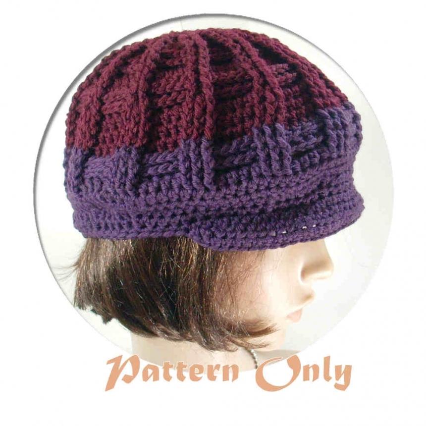 PDF Pattern Only, Newsboy Crochet Hat, no. 51 by stubbornwoman