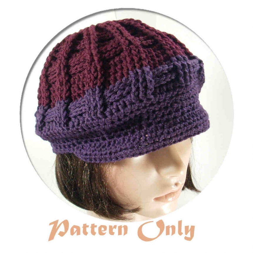 Crochet Newsboy Hat Pattern : PDF Pattern Only, Newsboy Crochet Hat, no. 51 by stubbornwoman
