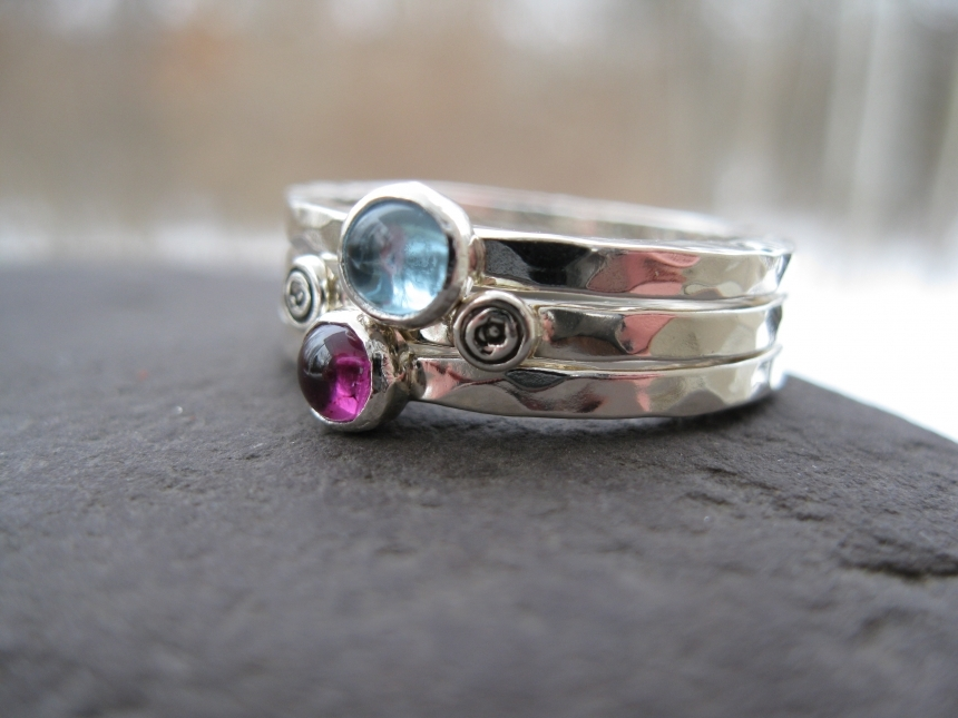 Mothers stacking rings sterling birthstones inscribed bands aloadofball Images