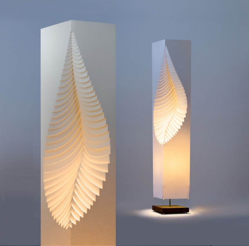 Leaf moodoonano paper design lamp on wooden stand by moodoo for Lamp design