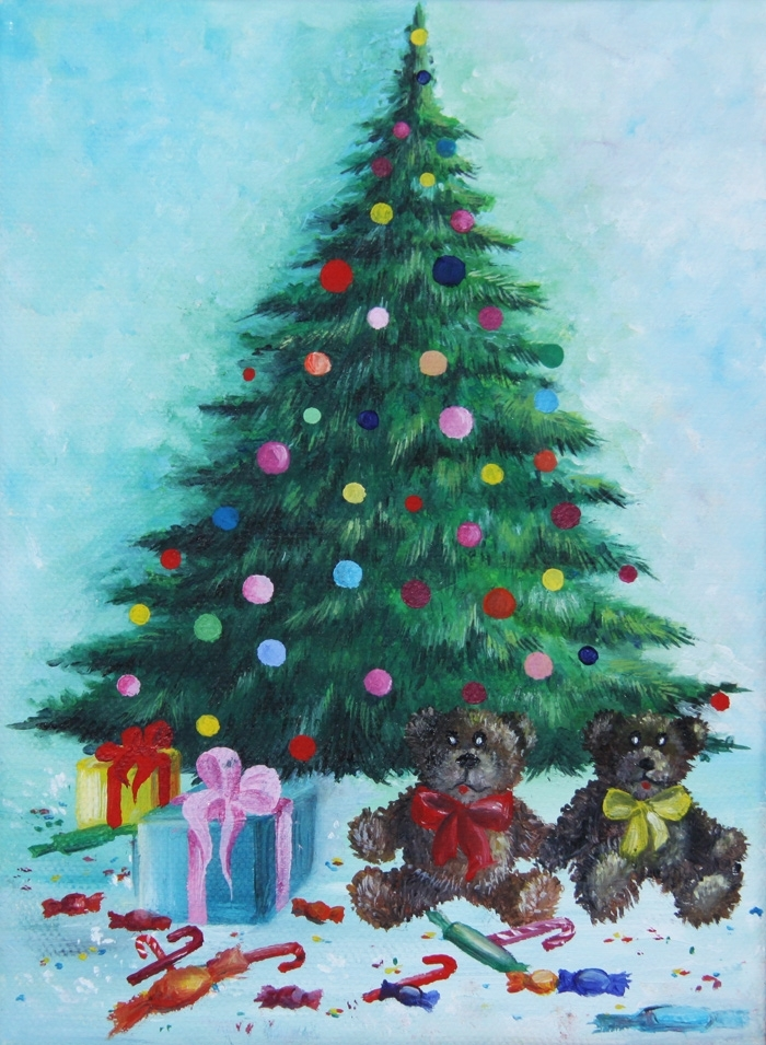 Christmas tree with gifts acrylic painting on canvas by for Christmas images paintings