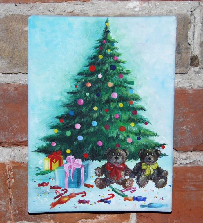 Christmas tree with gifts acrylic painting on canvas by