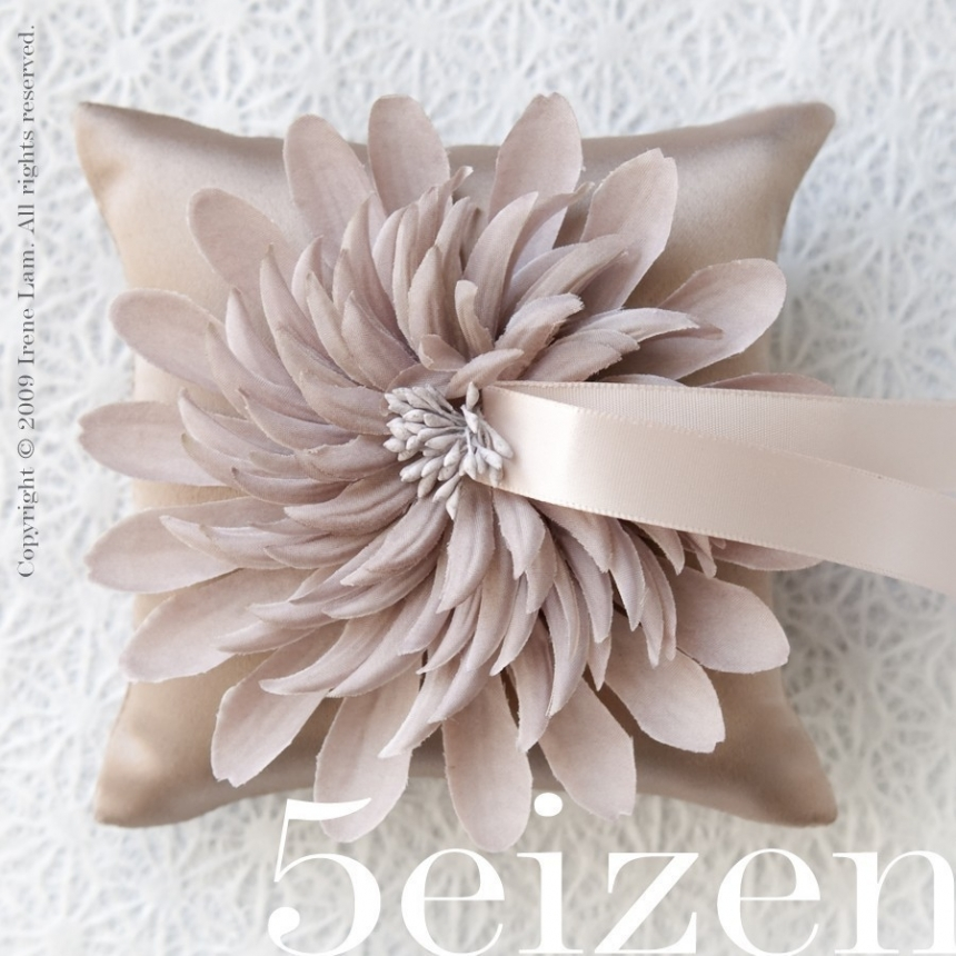 Nicole Bloom Series Pale Taupe Wedding Ring Pillow By 5eizen