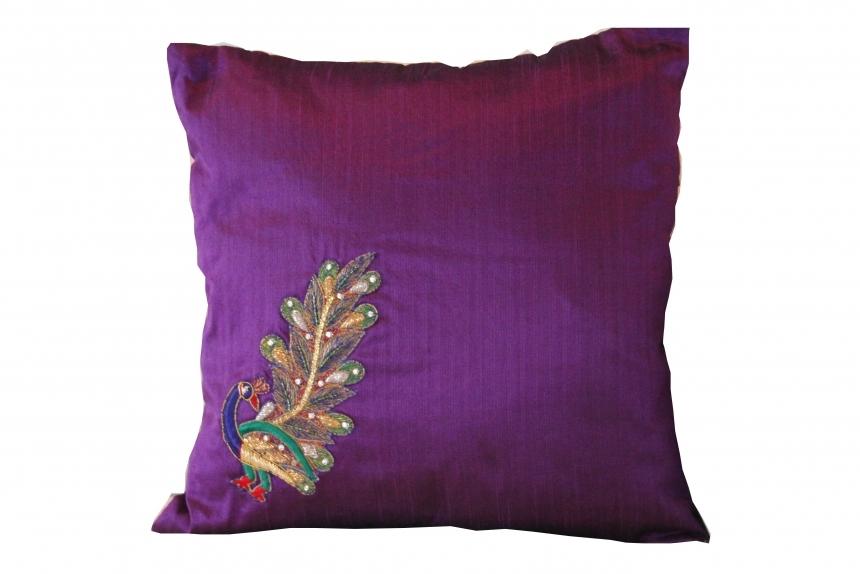 Purple Silk Cushion Cover Peacock Pride By Hug Design