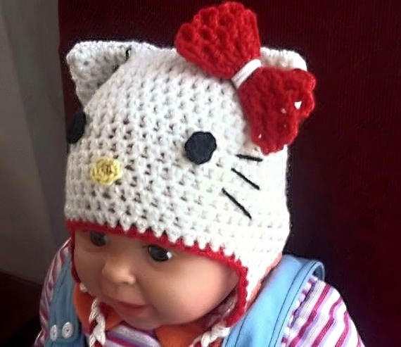 Free Crochet Pattern For A Hello Kitty Hat : Hello Kitty Hat Crochet Pattern, All sizes, Beanie and Earflap