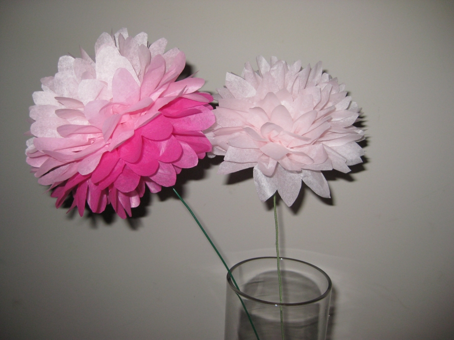 12 Tissue Paper Flower Pom Poms You Pick Colors