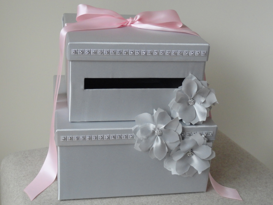 Wedding Gift Box Pinterest : Wedding Card Box Silver and Pink by Wrap Artist, Wedding Items