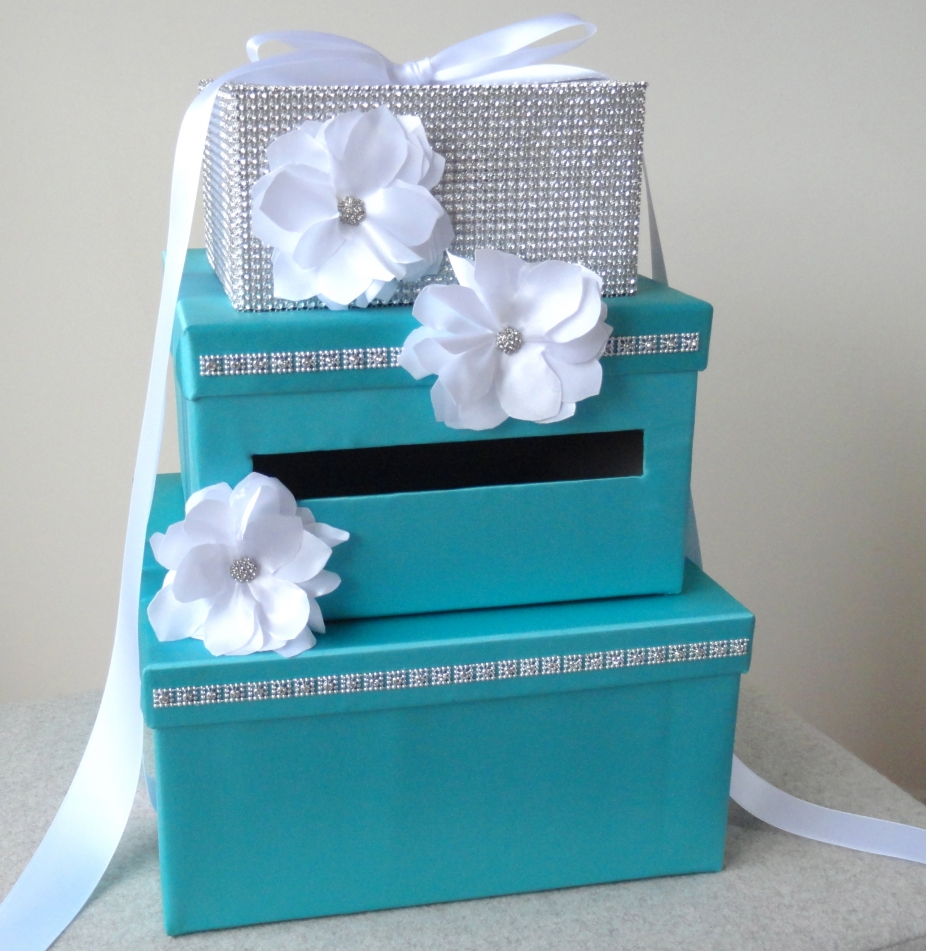 Wedding Gift Box Tiffany Blue : Wedding Card Box -Tiffany Blue Satin by Wrap Artist, Wedding Items