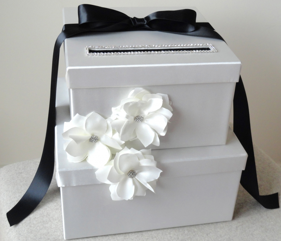 Black And White Wedding Gift Card Box : Wedding Card Box White & Black Envelope Box by Wrap Artist