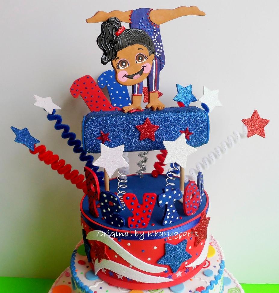 Gymnastic Birthday Cake Topper For Children Party Centerpiece