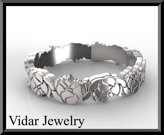 Unique 14kt White Gold Lotus Flower Women Wedding Ring
