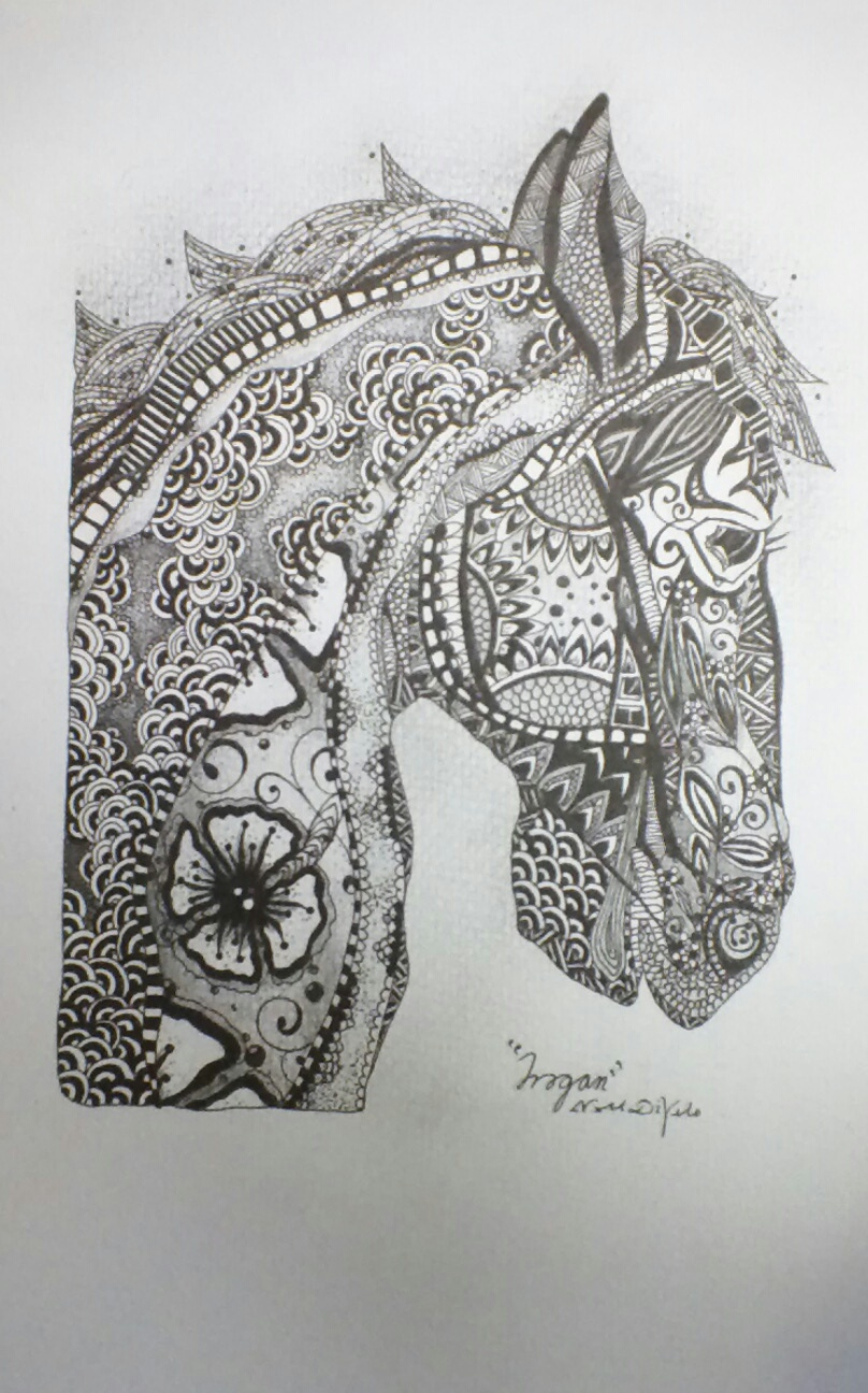 Zentangle Horses Colouring Pages