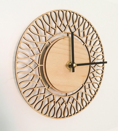 Wood Clock Nordic Design Wallclock wooden green living