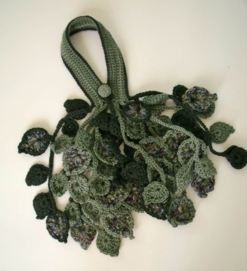 Crochet Scarf Pattern Leaf : PDF pattern Crochet leaf scarflette or necklace No 1 by ...