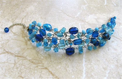 Plus size crocheted cobalt blue wide statement bracelet by for Plus size jewelry bracelets