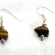 Tiger's Eye Bear Earrings