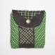 Green dots, brown stripes change purse- front