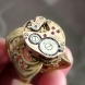 Steampunk wide filigree base brass ring