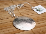 Sterling Silver Bark Disc Necklace