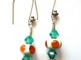 Amber Ivory Turquoise lampwork Swarovski Bali Earrings SRA