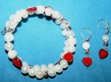 Graceful Freshwater Pearls and red heart Czech glass beads  Bracelet with Bonus earrings  (SOLD OUT)