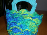 Hand-crocheted Handbag,  Small,  Teal and Green