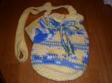 Hand-crocheted bag  yellow, white, and blue  100% cotton