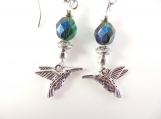 Green beaded hummingbird earrings