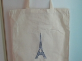 Grocery Bag / Tote Bag - Embroidered Cotton with Eiffel Tower
