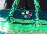 Bright and Playful Kitchy Crochet Tote bag Purse