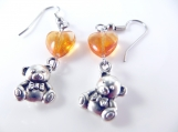 Hearts and teddy bear earrings