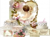 Shabby Lady Collage Applique Fabric Quilt Block 14-0095
