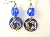 Blue circle of dolphin earrings