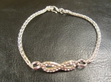 Ladies, Sterling silver, Viking knit, crystal Infinity bracelet
