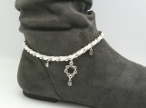 DC111 Silver and White Boot Chain with Rhinestone Drop