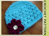 PDF Crochet Pattern - Criss-Cross Beanie Hat w/Curled Flower