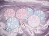 ONE DOZEN 12 ITS A BOY ITS A GIRL BABY SHOWER FAVOR OR ANNOUNCEMENT HANDPAINTED