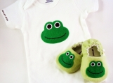 Frog Baby Booties AND Frog Onesie, from 0 - 18 Months