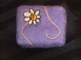 Handmade Felted Soap in purple with flower, unscented handmade cold-process soap
