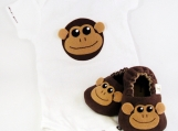 Monkey Baby Booties AND Monkey Onesie, from 0 - 18 Months