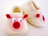 Pig / Piggies Baby Booties, 3 - 18 Months